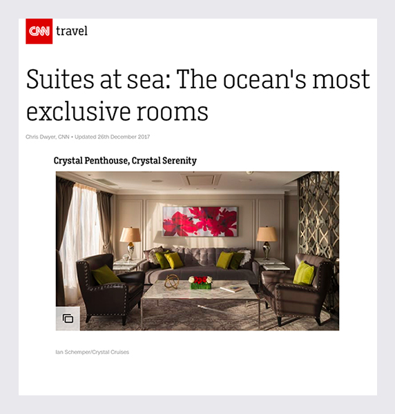CNN Travel - Penthouse Suite Crystal Serenity Ship  (2017)