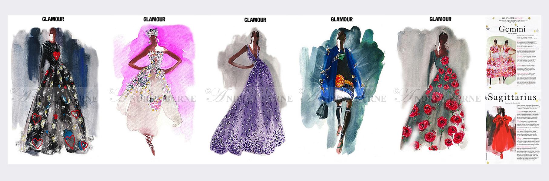 Conde Nast Glamour magazine (selected couture horoscope illustrations) - Libra (Celine) / Taurus (Dolce & Gabbana) / Aries  (Monica Lhuillier) / Scorpio (Prada) / Pisces (Prada) (2015)